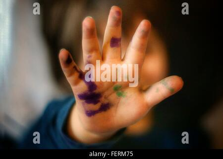 Close-Up Of Painted Child Hand - Stock Photo