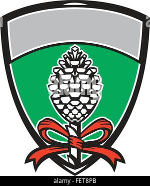 Illustration of a Thyrsus a staff of giant fennel topped with pine cone with grapevine leaves and ribbon set inside - Stock Photo