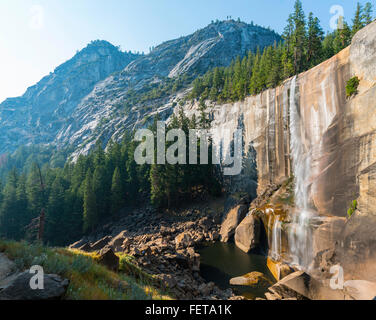 Vernal Fall, Yosemite Valley, Yosemite National Park, UNESO World Heritage Site, California, USA - Stock Photo