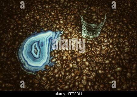 Roasted Coffee Beans And Semi-Precious Stone - Stock Photo