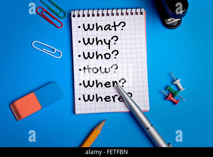 What Why Who How word writing on paper - Stock Photo