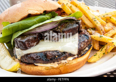 Truffle Pig burger with Foie Gras and truffle fries, Truffle Pig Restaurant, One Steamboat Place, Steamboat Springs, - Stock Photo