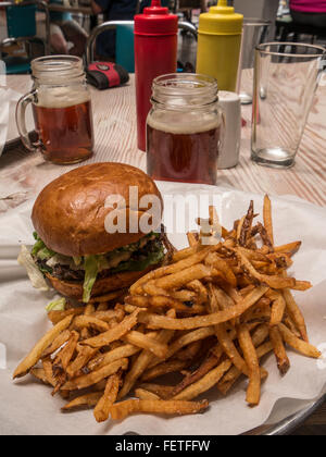 South by Southwest burger and fries, Grind restaurant, downtown Glenwood Springs, Colorado. - Stock Photo