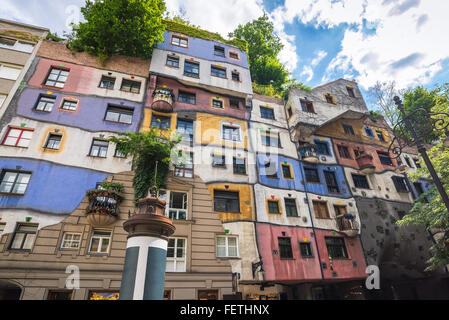 Hundertwasser house , Vienna , Austria - Stock Photo