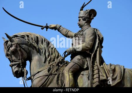 Statue of Croatian hero viceroy and military general Ban Josip Jelacic with sword on horse in Zagreb main square - Stock Photo