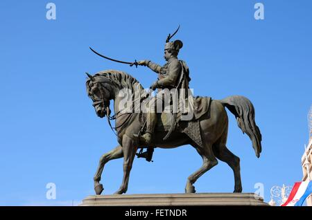 Statue of Croatia Ban Josip Jelacic viceroy and general on horse with sword in Zagreb main square - Stock Photo