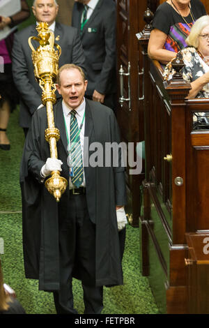 Melbourne, Australia. 9th February, 2016. The Sergeant at Arms opens the Victorian State Parliament for 2016 on - Stock Photo