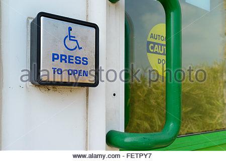 Wheelchair access door opener, library, Sturminster Newton, Dorset, England, UK - Stock Photo