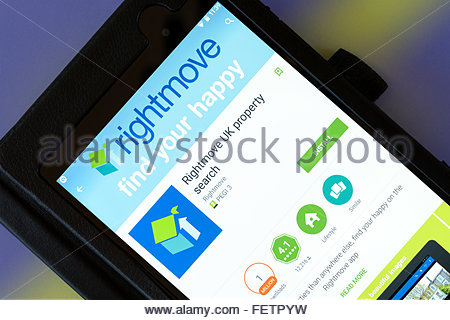 Online real estate portal Rightmove, app on an android tablet PC, Dorset, England, UK - Stock Photo