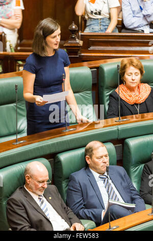 Melbourne, Australia. 9th February, 2016. Victorian Greens MP Ellen Sandell, stands to talk in Question Time 2016. - Stock Photo