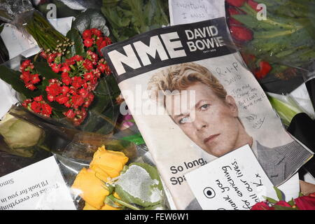 Tributes to David Bowie who died on 10.01.2016,Heddon Street,London UK - Stock Photo