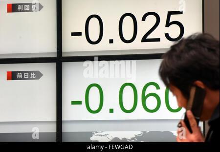 Tokyo, Japan. 9th February, 2016. Tokyo, Japan. 9th Feb, 2015. Japanese stocks plunge on the Tokyo Stock Exchange - Stock Photo