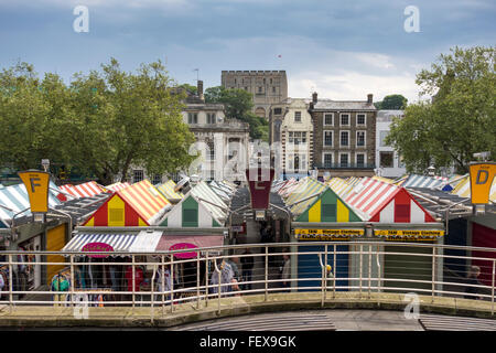 Market Place and Castle in the background, Norwich, Norfolk, UK - Stock Photo