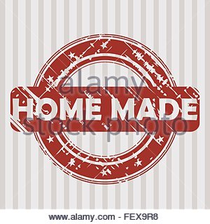 Grunge red rubber stamp with HOME MADE - Stock Photo