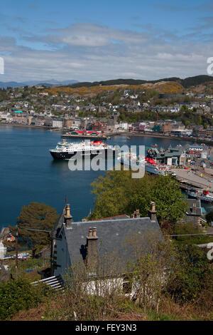 MV Clansman and Mull in Oban bay, Argyll - Stock Photo