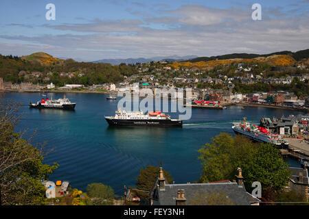 Springtime view overlooking Oban bay, Argyll - Stock Photo