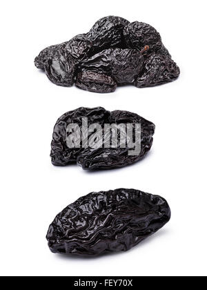 Prunes or dried plums. Infinite depth of field, spotless retouched. Clipping paths for both prunes and shadow. Set, - Stock Photo