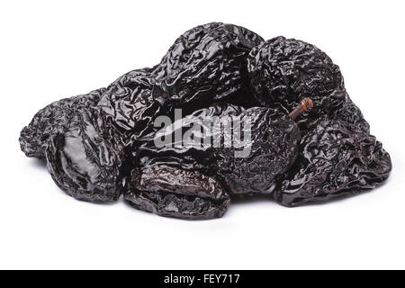 Prunes or dried plums. Infinite depth of field, spotless retouched. Clipping paths for both prunes and shadow - Stock Photo