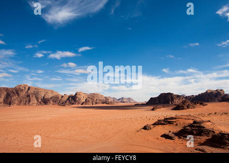 Wide view of mountains and desert in Wadi Rum, Jordan. - Stock Photo
