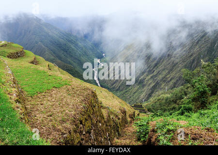 Inca Trail to Machu Picchu (also known as Camino Inca). Located in the Andes mountain range, the trail passes through - Stock Photo