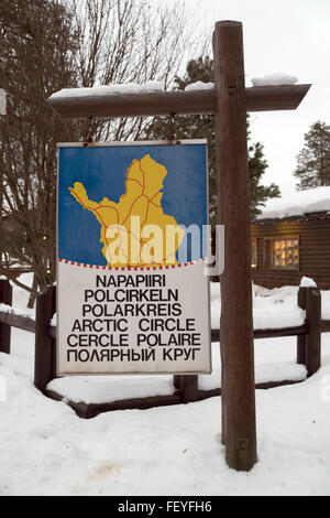 Rovaniemi, Lapland, Finland. 08th Feb, 2016. A sign that points to the polar circle in six languages (top to bottom: - Stock Photo