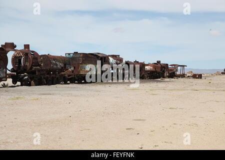 Old Railway Engines In Desert - Stock Photo