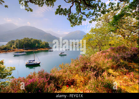 Peaceful scene in Bishops bay on Loch Leven, Ballachulish, West Highlands - Stock Photo