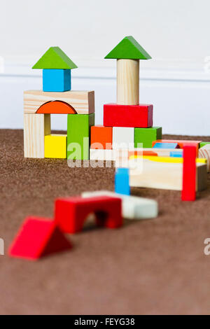 Children's wooden building blocks - Stock Photo