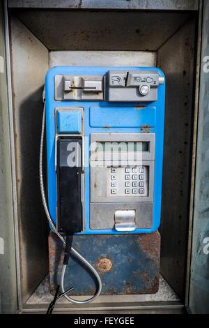 Public telephone in El Médano, Tenerife, Spain - Stock Photo