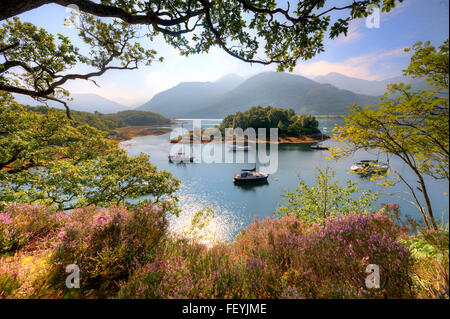 Yachts at anchor in Bishops bay on Loch Leven, Ballachulish, West Highlands. - Stock Photo