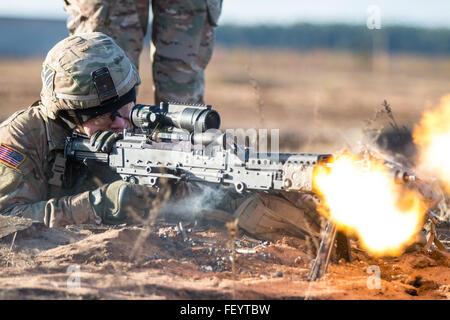 Spc. Timmy Racke, an infantryman with the 3rd Battalion, 69th Armor Regiment, 1st Armor Brigade Combat Team, 3rd - Stock Photo