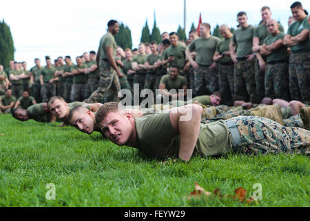 The Marines of 11th Marine Regiment prepare to go compete in a tug-of-war competition in celebration Saint Barbara's Day - the patron saint of Artillery - in Las Pulgas, Camp Pendleton, Calif., Jan. 21, 2016. The regiment remembered those artillerymen who have gone before them with a memorial service, inducted new members into the Honorable Order of Saint Barbara, and added some levity with a homemade trebuchet competition.