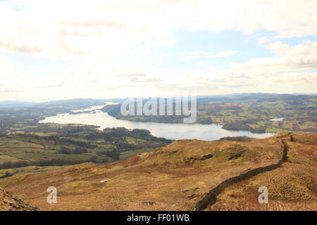 The view of lake Windermere from the top of Wansfell pike near ambleside in the lake district - Stock Photo