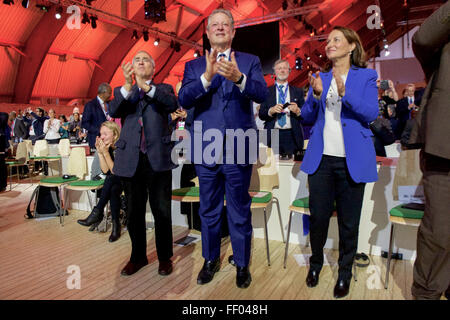 British Economist and Environmentalist Stern, Former Vice President Gore, and French Minister Royal Applaud After - Stock Photo