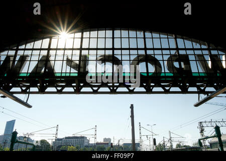 Rear view of the Wrocław sign on the exterior of the Wrocław Główny station in Wrocław, Poland. - Stock Photo