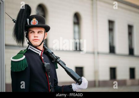 OSLO, NORWAY - JULY 31, 2014: Royal Guard guarding Royal Palace - Stock Photo