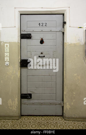 Closed cell door in Hohenschoenhausen, a stasi prison in ddr times, now a museum and memorial. - Stock Photo