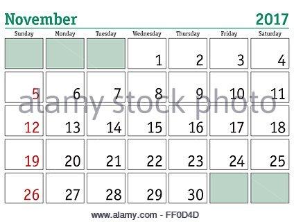 english calendar art simple digital calendar for november 2017 vector printable calendar monthly scheduler week starts
