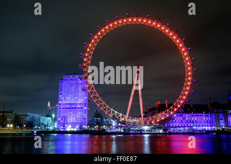 A night image of the London Eye overlooking the River Thames from southbank south bank London. - Stock Photo