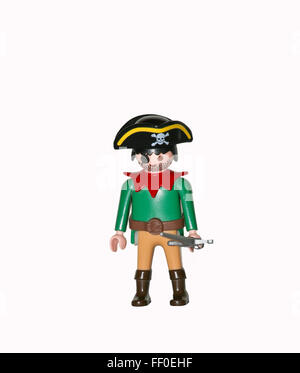 Playmobil pirate figure isolated on white background - Stock Photo
