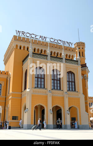 Exterior of Wrocław Główny railway station in the Polish city of Wrocław, one of the European Capitals of Culture - Stock Photo
