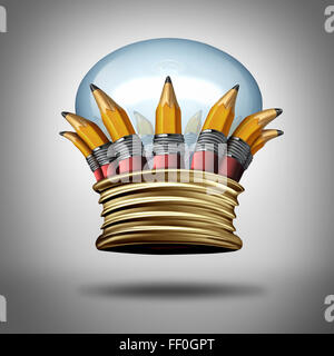 Innovation and ideas king crown as a group of pencils and a lightbulb or light bulb shaped as a royal crest as a creative success award for imagination and the best creativity.