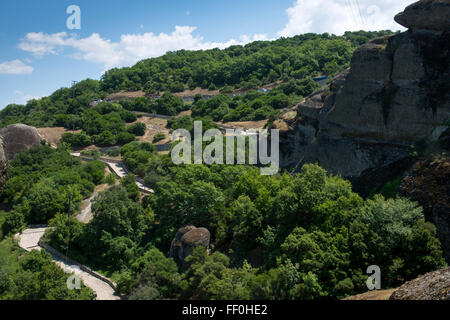 Pathway to the Monastery of the Holy Trinity in Meteora - complex of Eastern Orthodox monasteries, Greece - Stock Photo