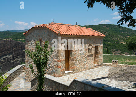 Monastery of the Holy Trinity in Meteora - complex of Eastern Orthodox monasteries, Greece - Stock Photo