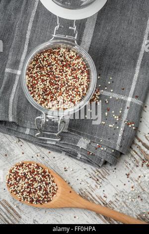 Quinoa in a glass jar - Stock Photo