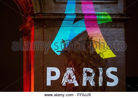 Paris, France. February 9th, 2016. FRANCE, Paris: The logo for Paris as a candidate for the 2024 Olympics Games - Stock Photo