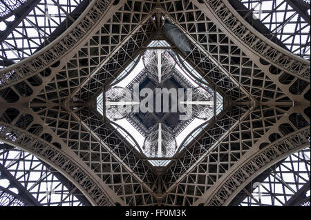 Eiffel Tower, seen from beneath, Paris, Ile-de-France, France - Stock Photo