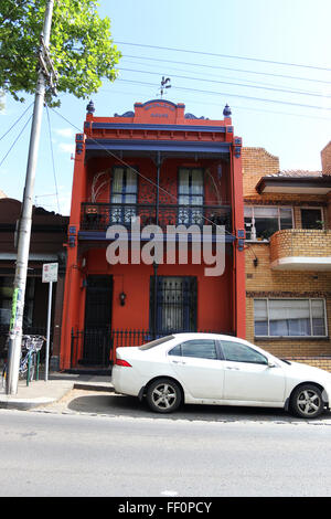 One of the Boom Style Victorian architecture houses in North Melbourne, Victoria, Australia - Stock Photo
