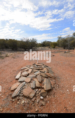 Goldminers Graves, Arltunga Historical Reserve, Gold Rush Ghost Town, Northern Territory, Australia - Stock Photo