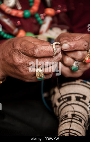 Close up of artist making traditional jewelry